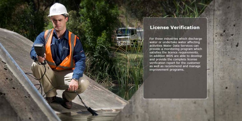 Licence Verification - water monitoring programs, reports, and improvement programs